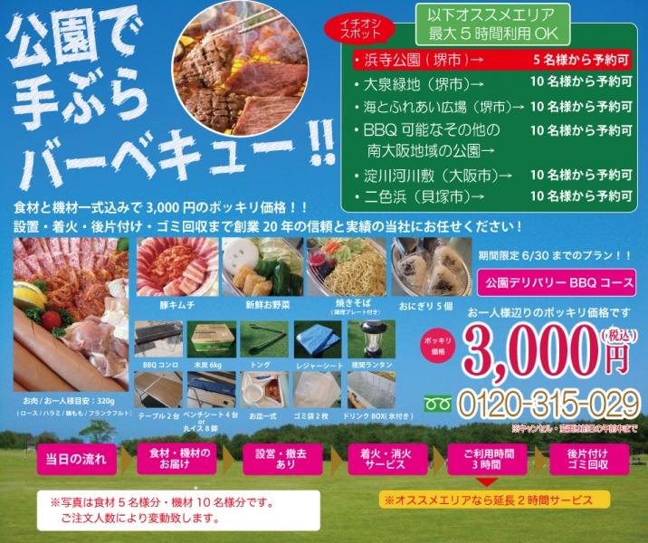 公園デリバリーバーベキュー3000円ポッキリプラン